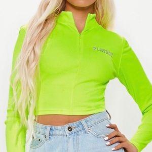 Neon Green Reflective Playboy Quarter Zip Crop Top